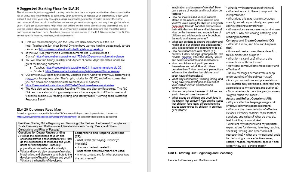 ELA 20 Example