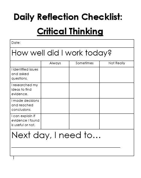 Daily Reflection Checklist