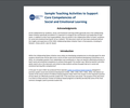 Sample Teaching Activities to Support Core Competencies of Social and Emotional Learning from CASEL