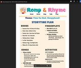 Romp & Rhyme Storytime Lesson Plan: Time for Bed, Sleepyhead