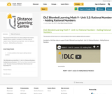 DLC Blended Learning Math 9 - Unit 3.2: Rational Numbers - Adding Rational Numbers
