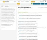 ELA A10: Criteria Rubrics