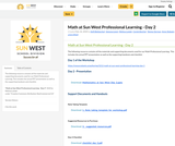 Math at Sun West Professional Learning - Day 2