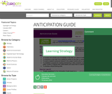 ANTICIPATION GUIDE - Learning Strategy