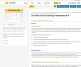Critical Thinking Guidebook - 6-9 (Middle Years) Sun West