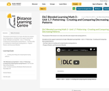 DLC Blended Learning Math 3 - Unit 1.7: Patterning - Creating and Comparing Decreasing Patterns