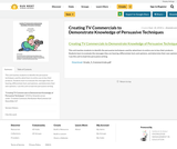 Creating TV Commercials to Demonstrate Knowledge of Persuasive Techniques