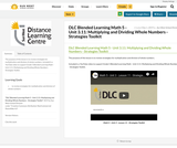 DLC Blended Learning Math 5 - Unit 3.11: Multiplying and Dividing Whole Numbers - Strategies Toolkit