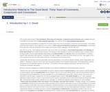 Introductory Material to The Good Book: Thirty Years of Comments, Conjectures and Conclusions