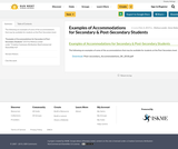 Examples of Accommodations for Secondary & Post-Secondary Students