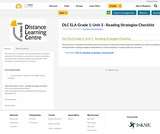 DLC ELA Grade 1: Unit 3 - Reading Strategies Checklist