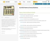 ELA B10: Rubrics/Criteria/Outlines