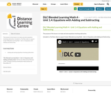 DLC Blended Learning Math 4 - Unit 1.4: Equations with Adding and Subtracting