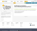 DLC Blended Learning Math 2 - Unit 2.3: Detecting and Predicting Patterns
