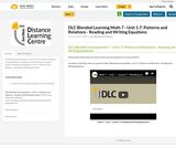 DLC Blended Learning Math 7 - Unit 1.7: Patterns and Relations - Reading and Writing Equations