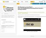 DLC Blended Learning Math 5 - Unit 3.10: Multiplying and Dividing Whole Numbers - Solving Problems