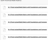 Saskatchewan Ministry of Education Provincial Math Rubrics