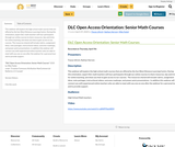 DLC Open Access Orientation: Senior Math Courses