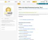 Math at Sun West Professional Learning - Day 1