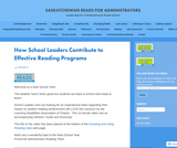 Leadership for a Saskatchewan Reads School