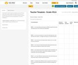 Teacher Template - Grade 4 ELA